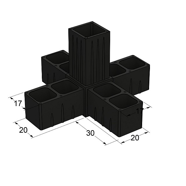 5 WAY CONNECTOR 20x20, BLACK